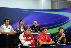 The FIA Press Conference: Eric Boullier, McLaren Racing Director; Monisha Kaltenborn, Sauber Team Principal; Franz Tost, Scuderia Toro Rosso Team Principal; Marco Mattiacci, Ferrari Team Principal; Graeme Lowdon, Marussia F1 Team Chief Executive Officer;