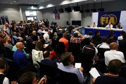 The FIA hold a Press Conference to discuss the accident involving Marussia F1 Team Driver Jules Bianchi, at the Japanese GP in Suzuka: Charlie Whiting, FIA Delegate; Jean Todt, FIA President; Jean-Charles Piette, FIA Medical Chief; Dr Ian Roberts, FIA Doc