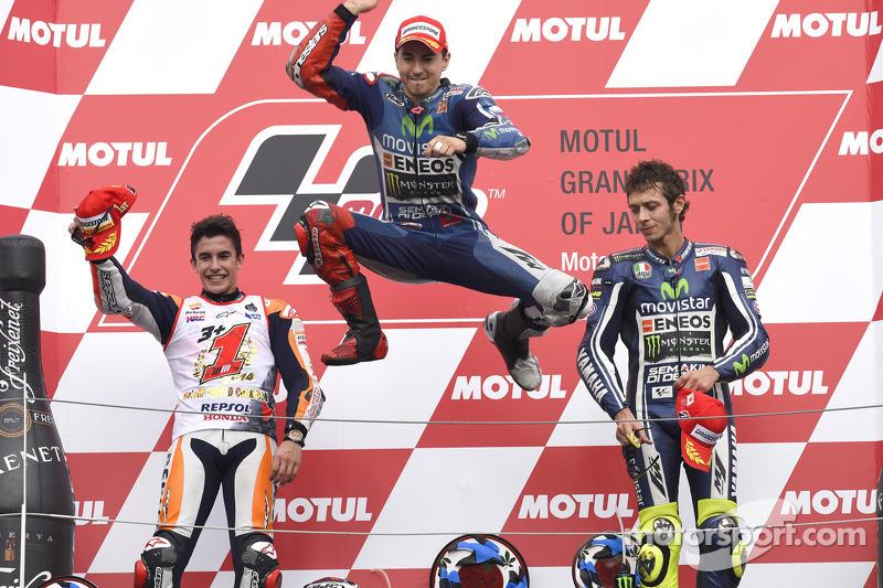 2014: 1. Jorge Lorenzo, 2. Marc Marquez, 3. Valentino Rossi