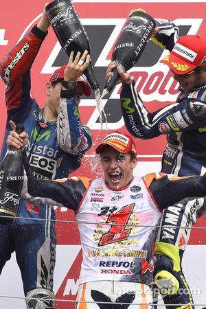 Podium: race winner Jorge Lorenzo, second place Marc Marquez, third place Valentino Rossi