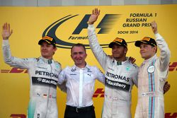 Nico Rosberg, Lewis Hamilton e Valtteri Bottas