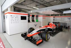 The Marussia F1 Team MR03 of Jules Bianchi, sits prepared, but not racing, in the pit garage