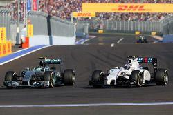 Nico Rosberg, Mercedes AMG F1 Team and Valtteri Bottas, Williams F1 Team