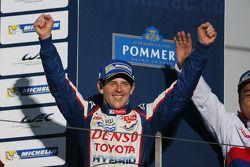 Race winner Anthony Davidson celebrates