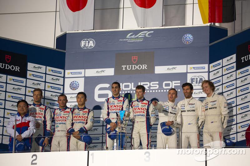 Podium: race winners Anthony Davidson, Sebastien Buemi, second place Alexander Wurz, Kazuki Nakajima, Stéphane Sarrazin, third place Mark Webber, Brendon Hartley, Timo Bernhard