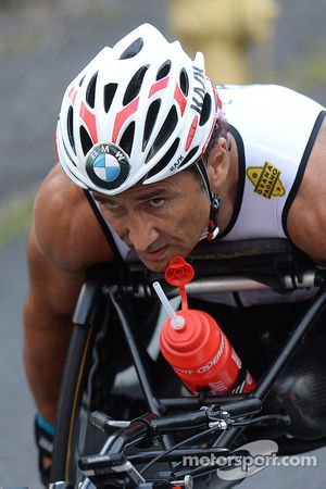 Alex Zanardi competes in the Hawaii long-distance triathlon