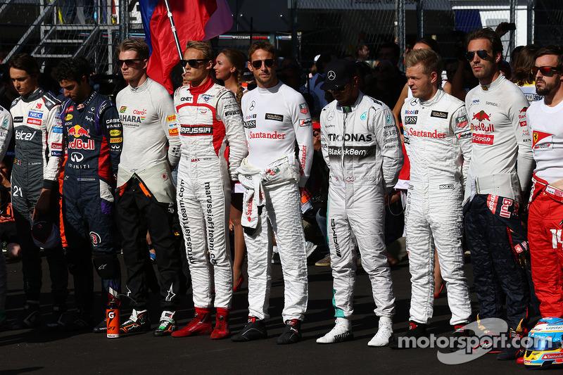 Los pilotos, con Jules Bianchi