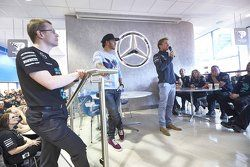Lewis Hamilton and Nico Rosberg speak to factory workers