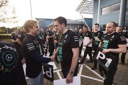 Nico Rosberg greets Mercedes factory workers