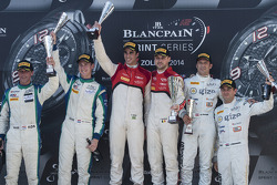 Podium: race winners Cesar Ramos, Laurens Vanthoor, second place Peter Kox, Nicky Catsburg, third place Hari Proczyk, Jeroen Bleekemolen