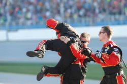 Brad Keselowski's crew celebrates the win