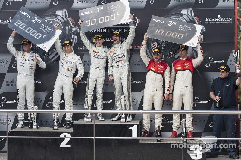 领奖台:比赛获胜者 Maximilian Götz, Maximilian Buhk, 第二名 Hari Proczyk, Jeroen Bleekemolen, 第三名 Cesar Ramos, Laurens Vanthoor
