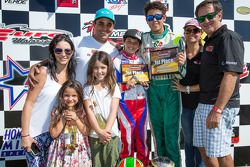 Juan Pablo Montoya with wife Connie Montoya, son Sebastian Montoya and Christian Munoz