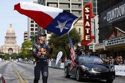 Sebastian Vettel avec le drapeau du Texas