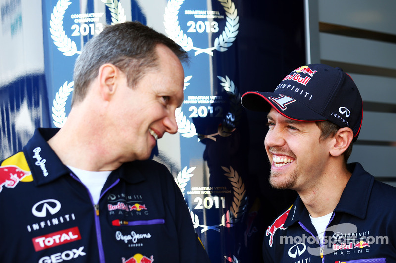 (L to R): Jonathan Wheatley, Red Bull Racing Team Manager with Sebastian Vettel, Red Bull Racing