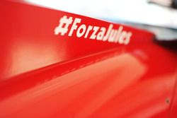 Ferrari F14-T engine cover carrying a message of support for Jules Bianchi