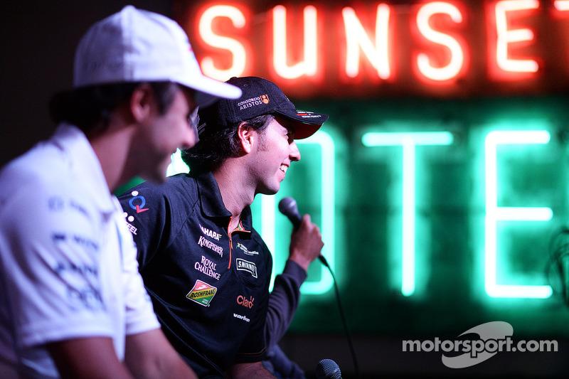 (L to R): Felipe Massa, Williams and Sergio Perez, Sahara Force India F1 at the Fans' Forum