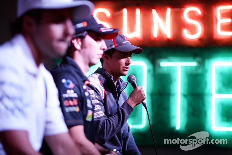 (De izquierda a derecha): Felipe Massa, Williams; Sergio Pérez, Sahara Force India F1; y Esteban Gut