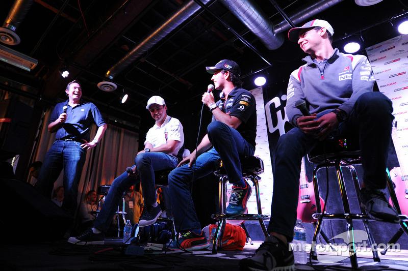 (L to R): Esteban Gutierrez, Sauber with Sergio Perez, Sahara Force India F1 and Felipe Massa, Williams at the Fans' Forum