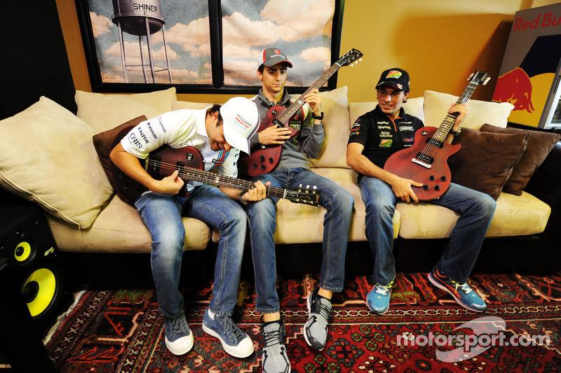(L to R): Felipe Massa, Williams with Esteban Gutierrez, Sauber and Sergio Perez, Sahara Force India
