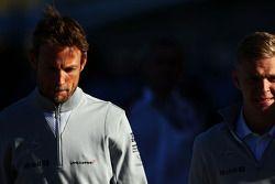 Jenson Button, McLaren with team mate Kevin Magnussen, McLaren