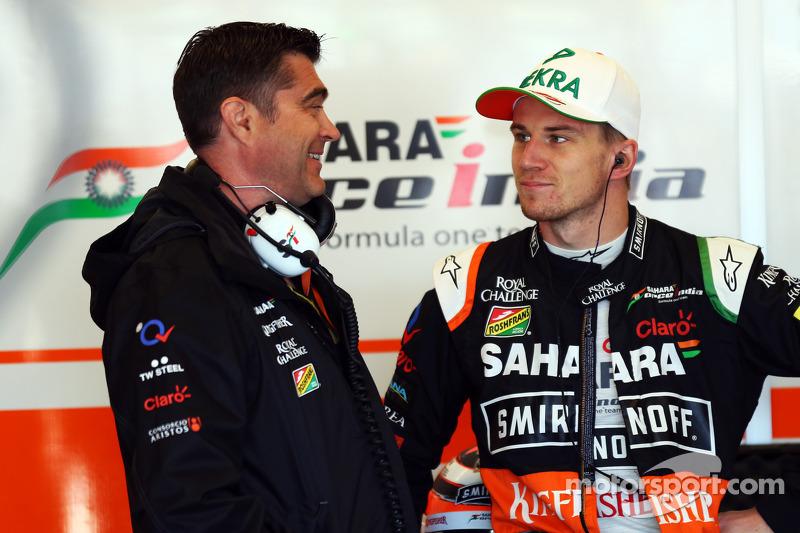 (L to R): Bradley Joyce, Sahara Force India F1 Race Engineer with Nico Hulkenberg, Sahara Force India F1
