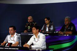 Gerard Lopez, Lotus F1 Team Principal; Monisha Kaltenborn, Sauber Team Principal; Dr. Vijay Mallya, Sahara Force India F1 Team Owner; Eric Boullier, McLaren Racing Director; Toto Wolff, Mercedes AMG F1 Shareholder and Executive Director