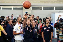 Sebastian Vettel, Red Bull Racing practices his basketball skills with Tony Parker, NBA Basketball Player, Red Bull Racing Team Principal and team mate Daniel Ricciardo, Red Bull Racing