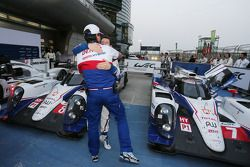 Race winner Anthony Davidson celebrates