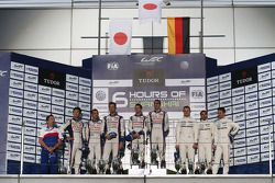 Podium: race winners Anthony Davidson, Sebastien Buemi, second place Alexander Wurz, Stéphane Sarrazin, Kazuki Nakajima, third place Marc Lieb, Neel Jani, Romain Dumas