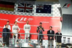 Podium: race winner Lewis Hamilton, second place Nico Rosberg, third place Daniel Ricciardo