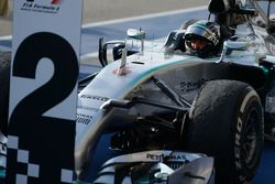 Second placed Nico Rosberg, Mercedes AMG F1 W05 in parc ferme