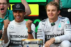 1st place Lewis Hamilton, Mercedes AMG F1 with 2nd place Nico Rosberg, Mercedes AMG F1 W05