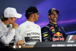 The FIA Press Conference: Nico Rosberg, Mercedes AMG F1, second; Lewis Hamilton, Mercedes AMG F1, race winner; Daniel Ricciardo, Red Bull Racing, third