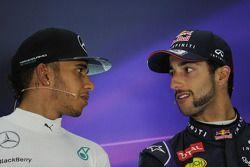 (L to R): Lewis Hamilton, Mercedes AMG F1 and Daniel Ricciardo, Red Bull Racing in the FIA Press Conference