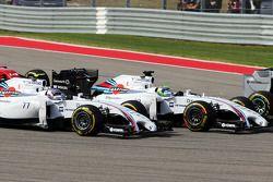 Valtteri Bottas, Williams FW36 and Felipe Massa, Williams FW36 at the start of the race