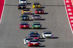 Start: #2 Ferrari of Houston Ferrari 458: Ricardo Perez leads