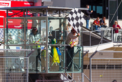 Checkered flag is shown