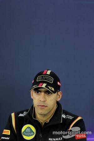 Pastor Maldonado, Lotus F1 Team, tijdens de FIA-persconferentie