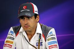 Adrian Sutil, Sauber en la conferencia de prensa de la FIA