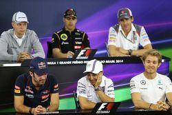 国际汽联新闻发布会:迈凯伦; 帕斯托·马尔多纳多, 路特斯F1车队;阿德里安·苏蒂尔, 索伯车队; 让-埃里克·维尼, 红牛青年队; 费利佩·马萨,威廉姆斯; 尼克·罗斯伯格, 梅赛德斯AMG F1车