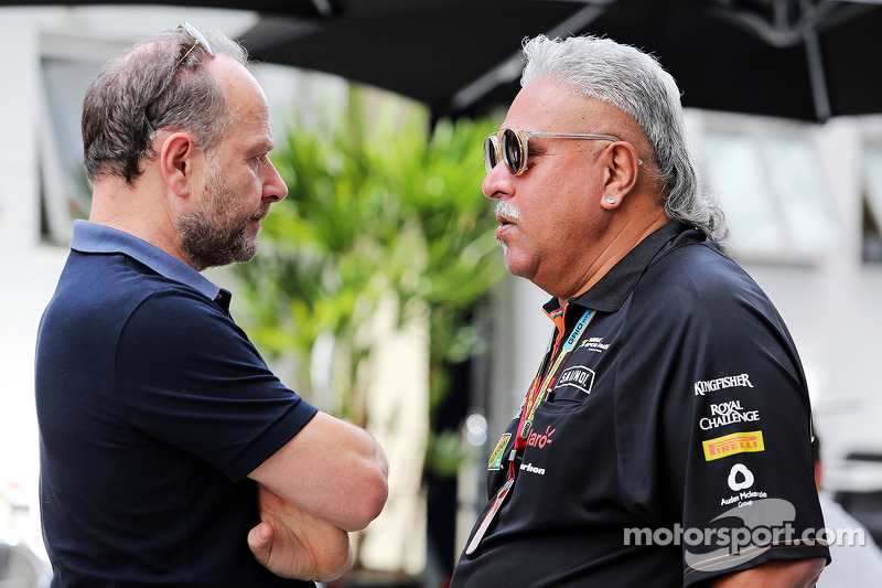 (L to R): Manfred Zimmerman, CMG, Driver Manager of Nico Hulkenberg, Sahara Force India F1, with Dr
