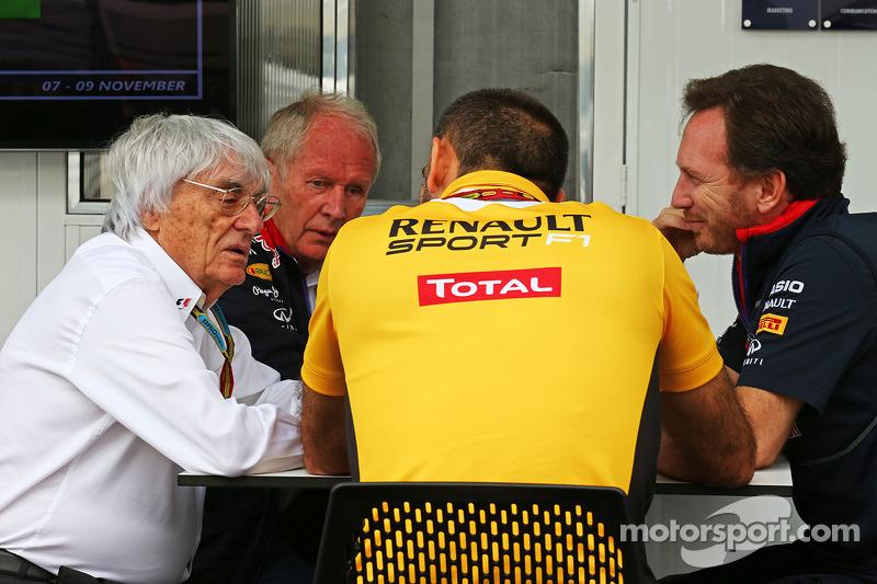 Bernie Ecclestone, Dr. Helmut Marko, Red Bull, Motorsportberater; Cyril Abiteboul, Renault Sport F1,