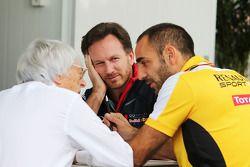 Bernie Ecclestone, with Christian Horner, Red Bull Racing Team Principal and Cyril Abiteboul, Renault Sport F1 Managing Director