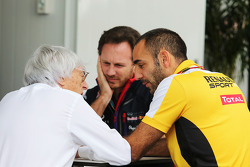 Bernie Ecclestone, with Christian Horner, Red Bull Racing Team Principal and Cyril Abiteboul, Renault Sport F1 Managing Director