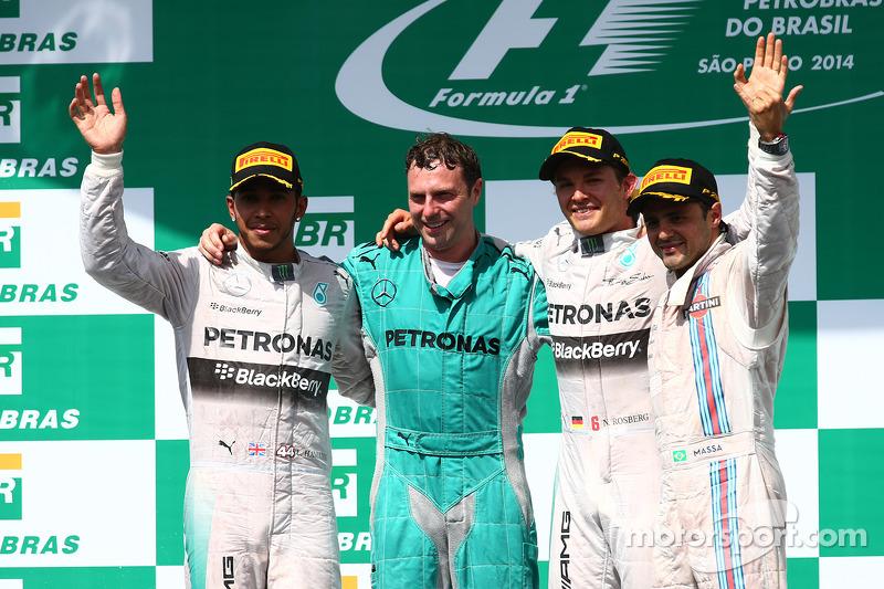 1st place Nico Rosberg, Mercedes AMG F1 W05, 2nd place Lewis Hamilton, Mercedes AMG F1 W05 and 3rd place Felipe Massa, Williams
