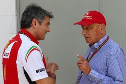 Marco Mattiacci, Ferrari Team Principal with Niki Lauda, Mercedes Non-Executive Chairman