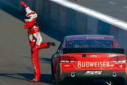 Race winner Kevin Harvick celebrates