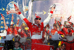 Race winner Kevin Harvick celebrates