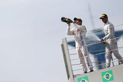 Felipe Massa, Williams and Lewis Hamilton, Mercedes AMG F1 celebrate on the podium